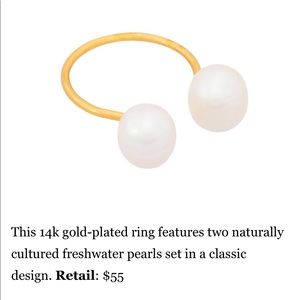 New! ERTH 14k gold plated pearl ring